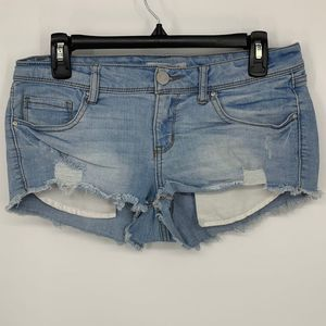 refuge 6 distressed ripped booty shorts
